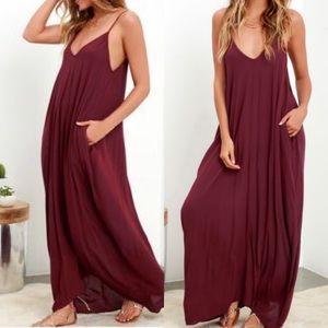 NWT Lulu's Yours Tule Burgundy Maxi Dress